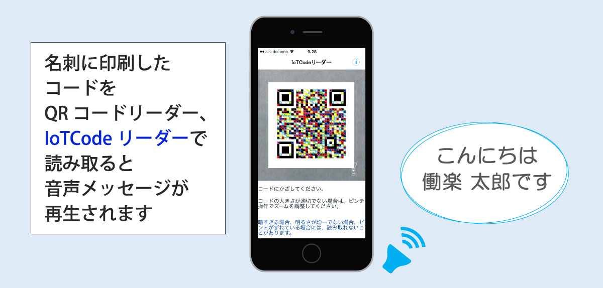 名刺に印刷したコードをQRコードリーダー、IoTCodeリーダーで読み取ると、音声メッセージが再生されます。